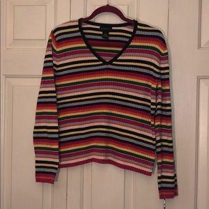 Vintage Striped V Neck Sweater